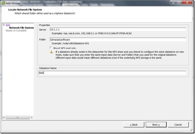ESXi Locate Network File System