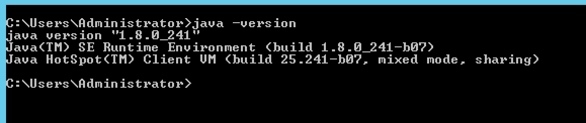 Windows command prompt to validate JDK installation version