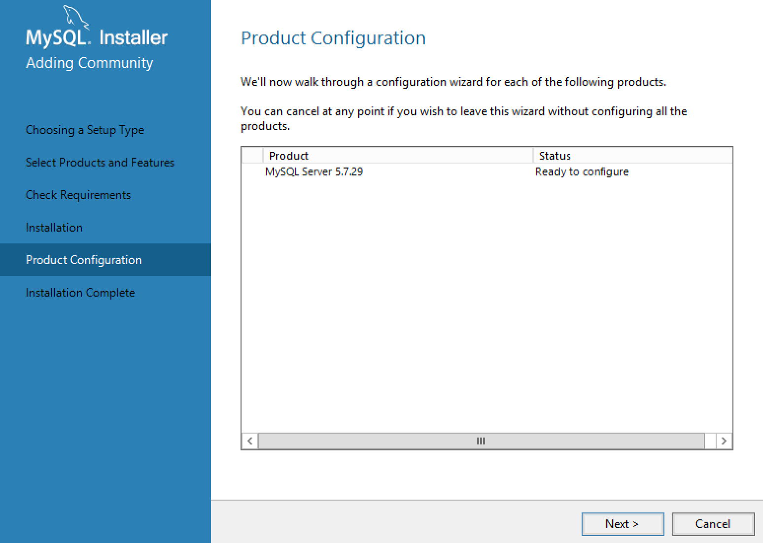 MySQL Installer Configuration