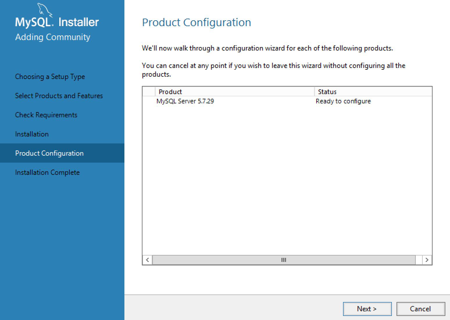 MySQL Installer Configuration