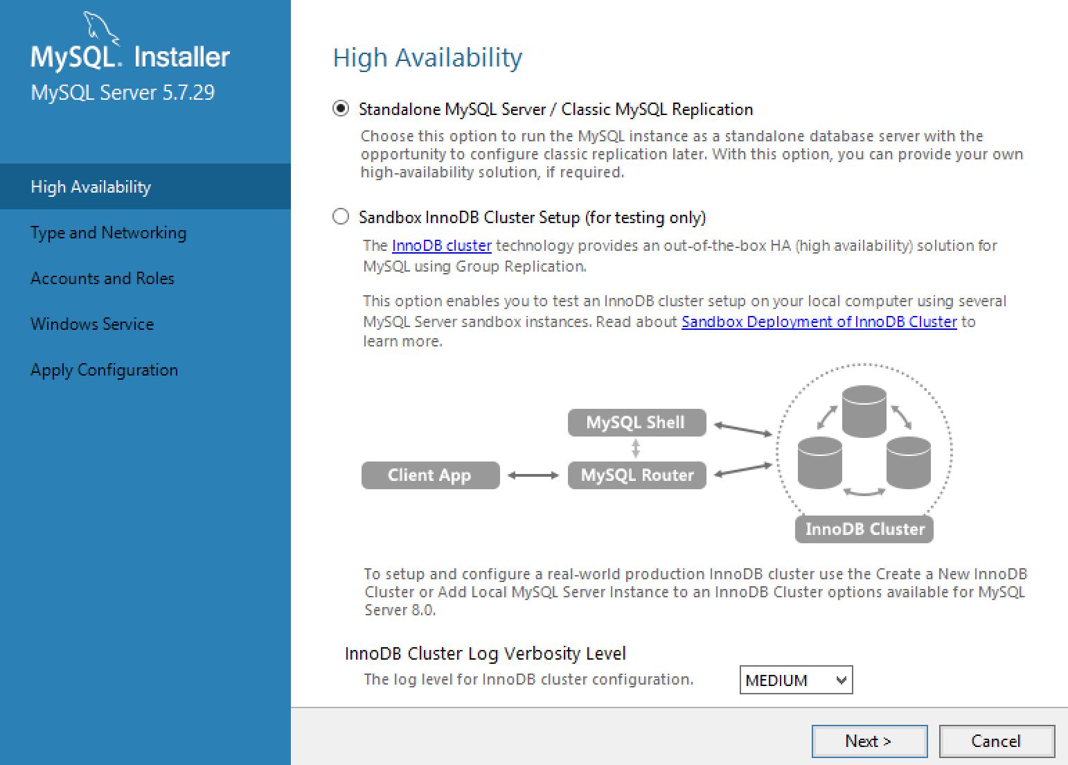 MySQL Installer Cluster Configuration