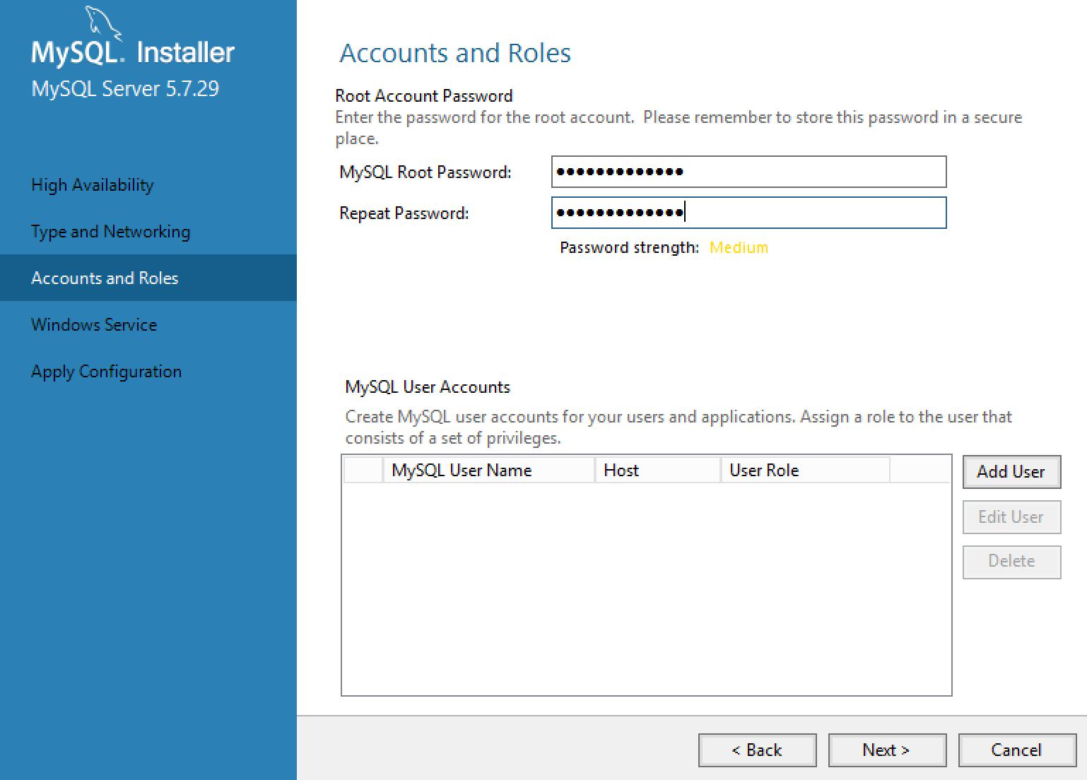 MySQL Installer User Configuration