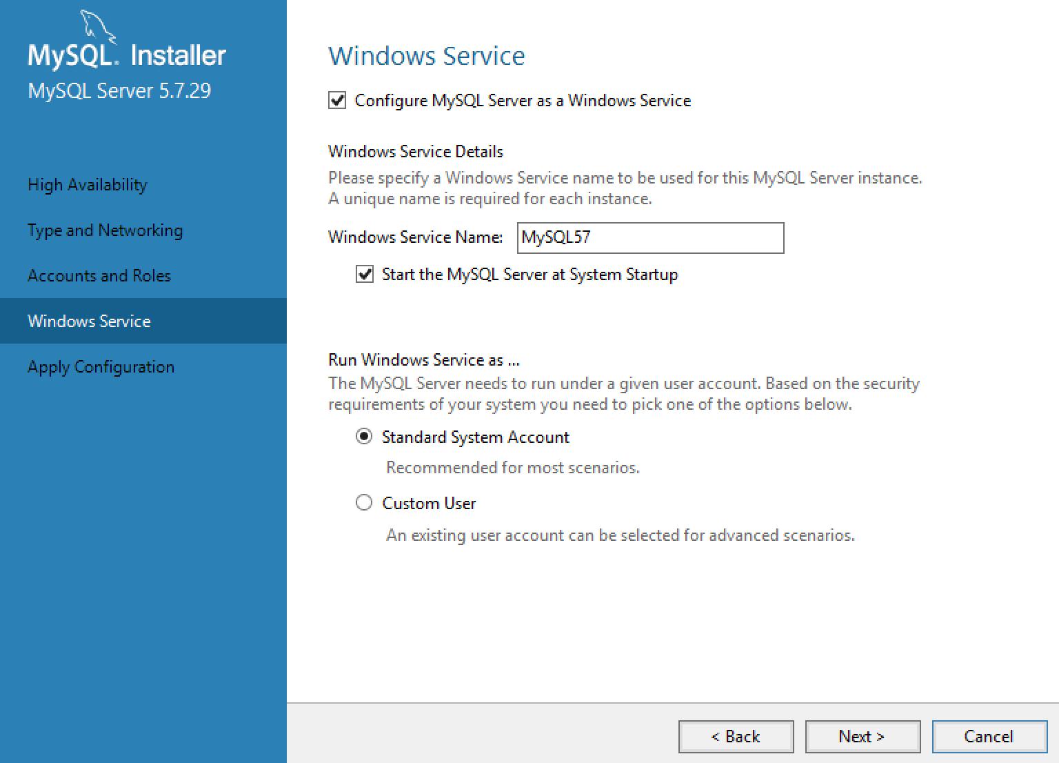 MySQL Installer Service Configuration