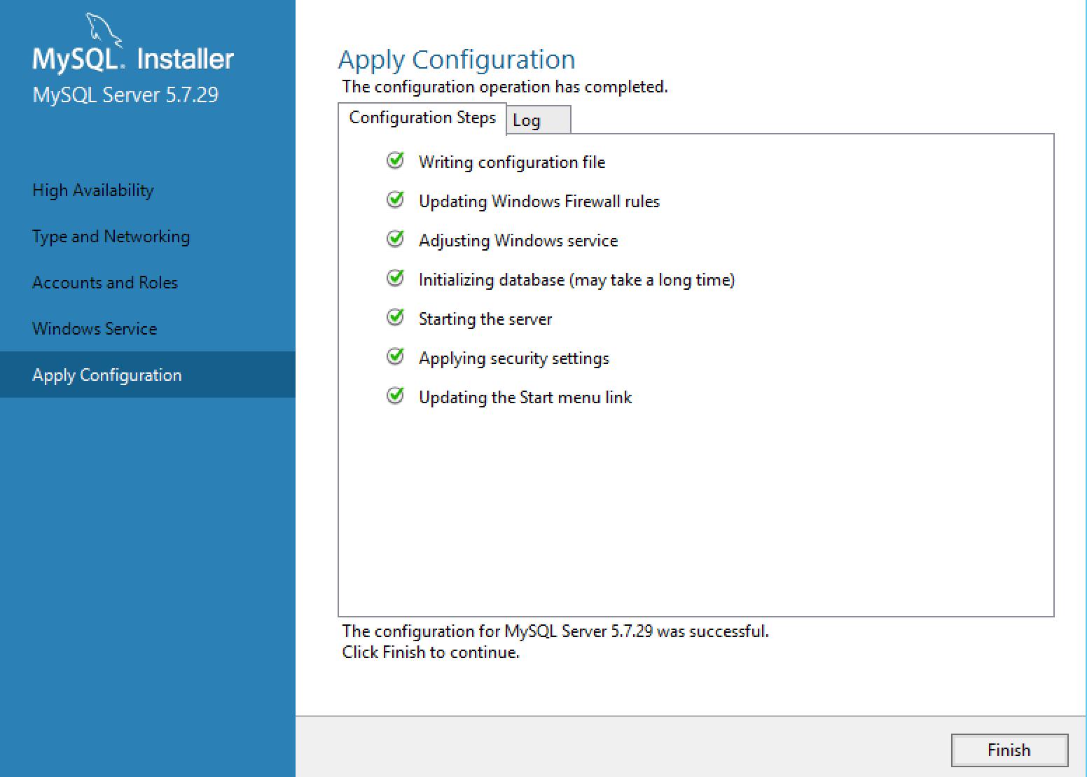 MySQL Installer Confirmation