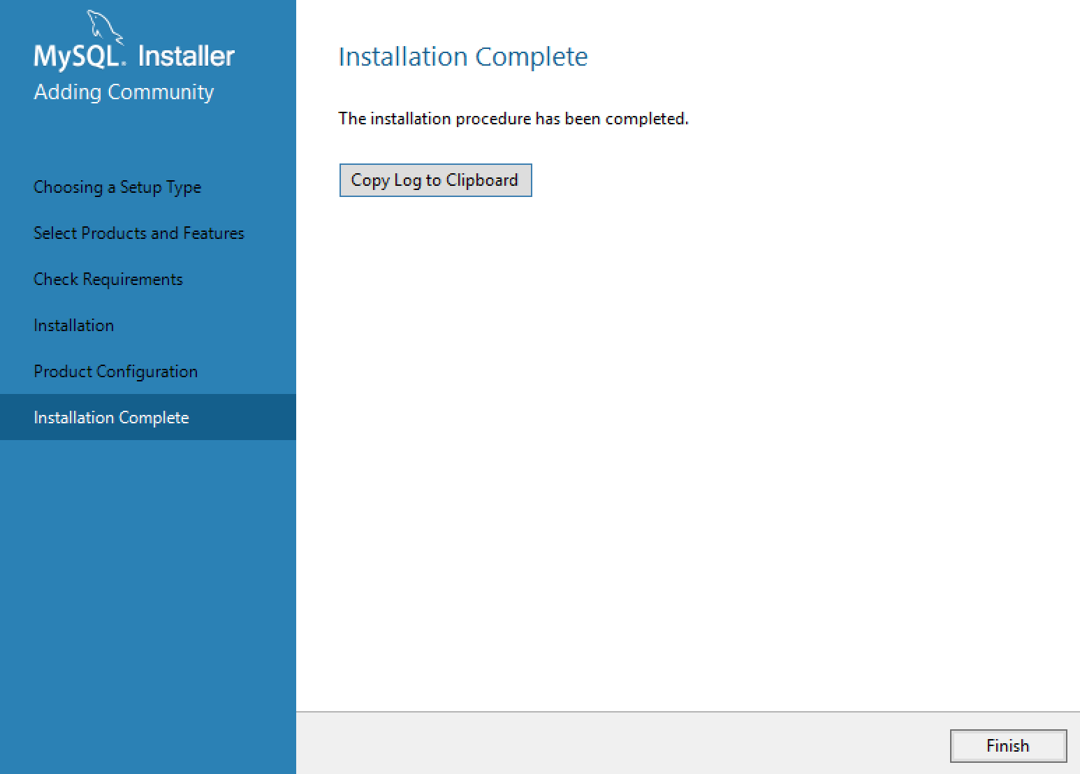 MySQL Installer Finished