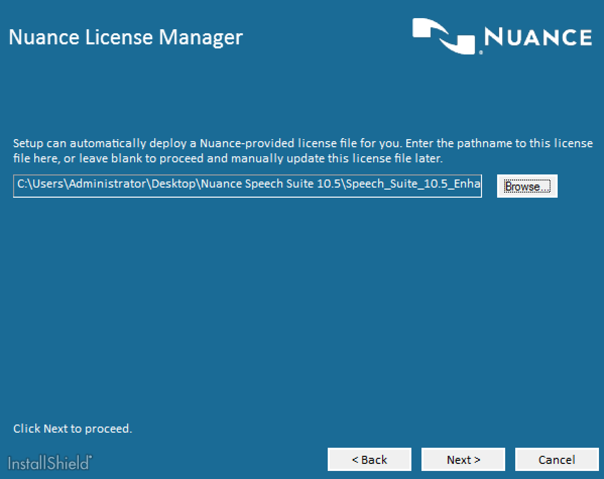 Nuance Speech Suite License Selection