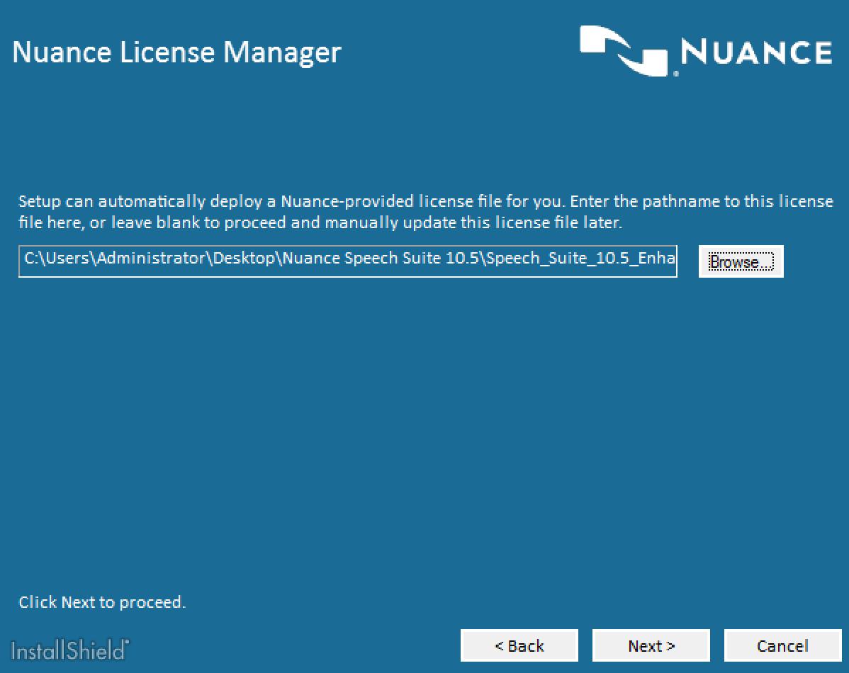 Nuance Speech Suite License Selection