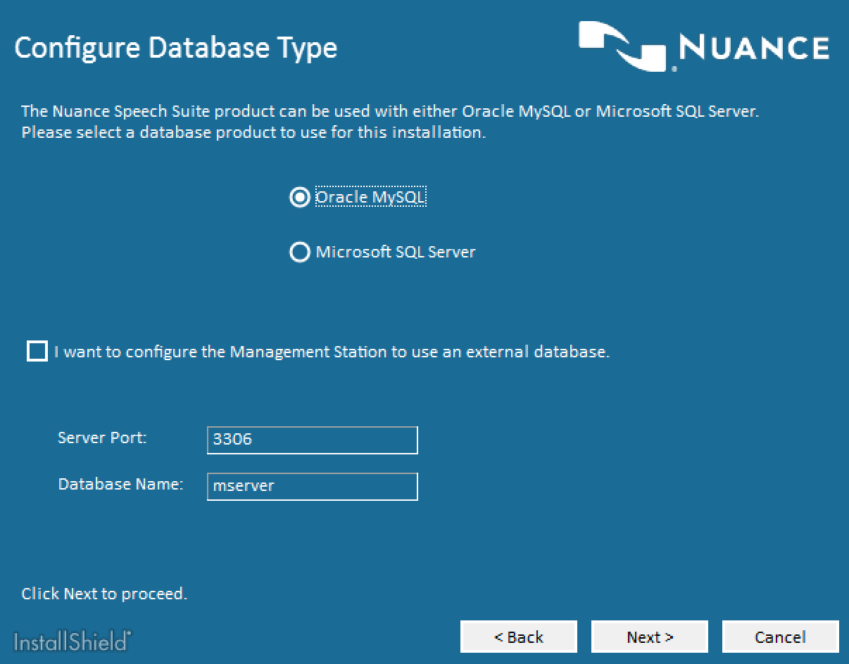 Nuance Speech Suite Database Selection