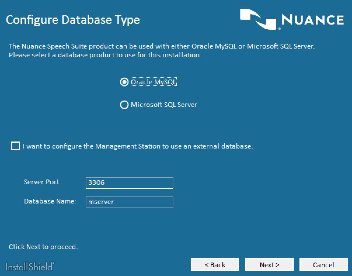 Nuance Speech Suite Database Selection