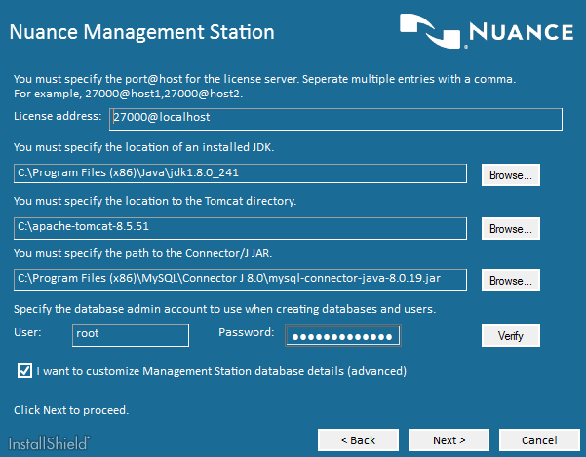 Nuance Speech Suite Component Configuration