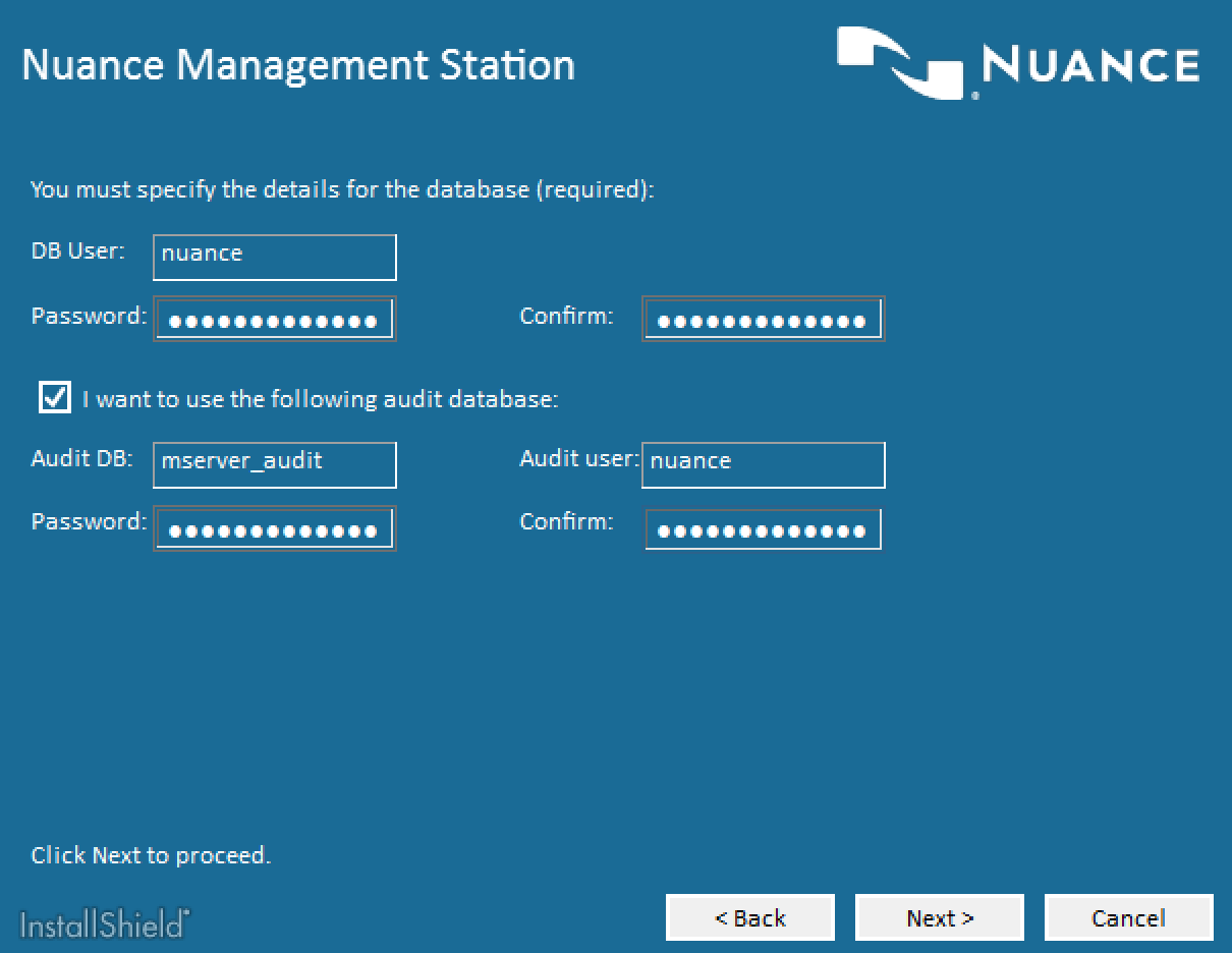 Nuance Speech Suite Database Configuration