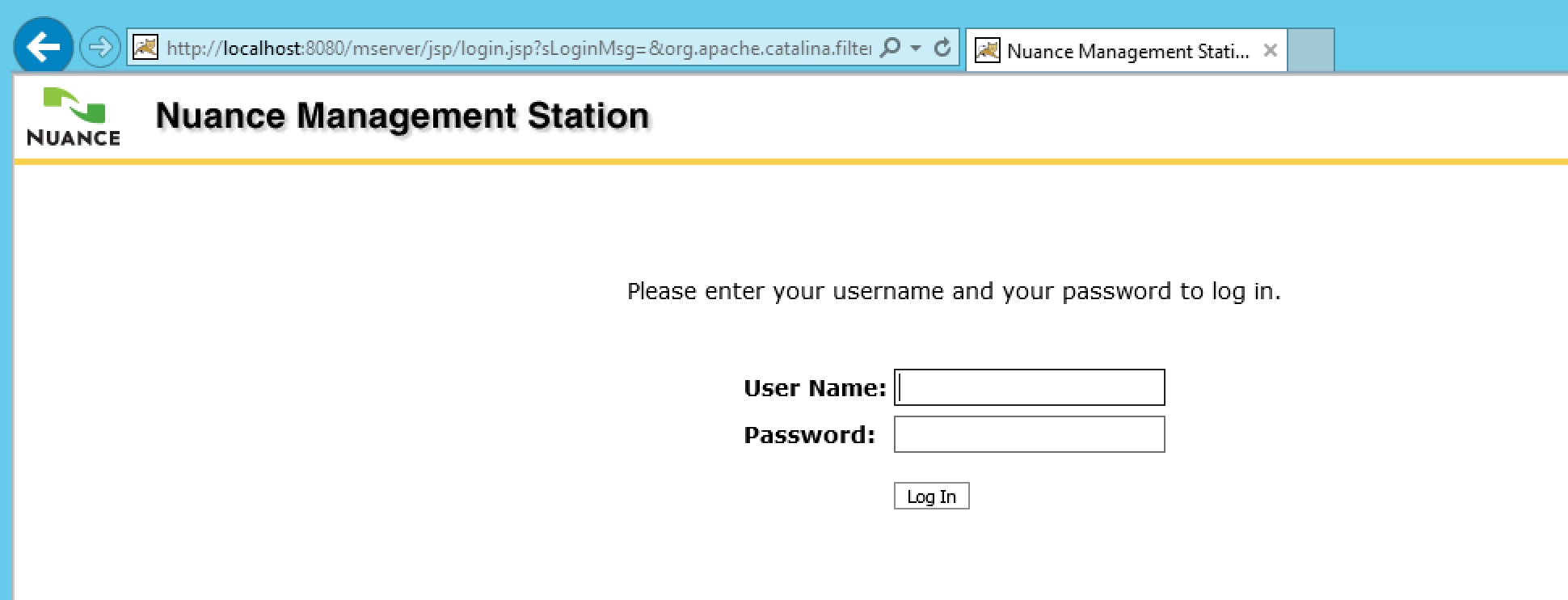 Nuance Speech Suite Login Screen