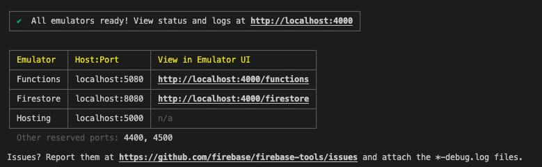 Firebase emulator running