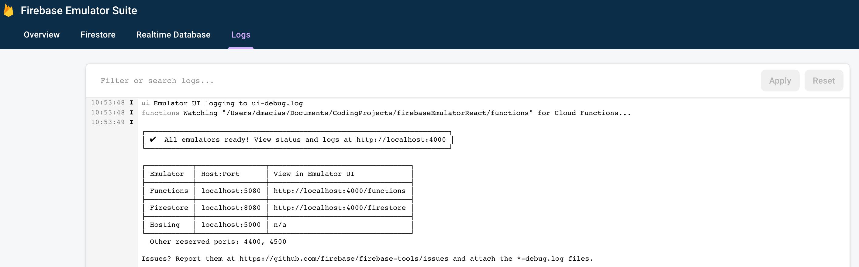 Firebase emulator log UI