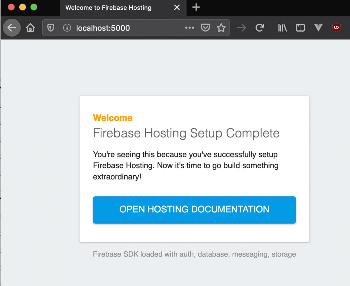 Firebase default Hosting webpage