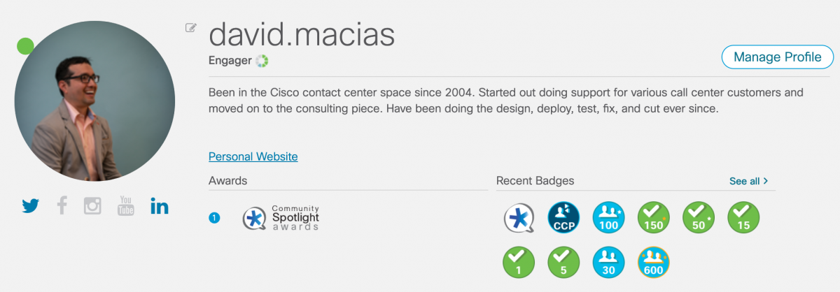 2020 Cisco Forums Profile