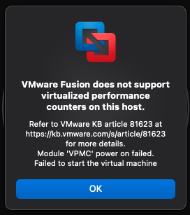 VMware Fusion Performance Counters Error