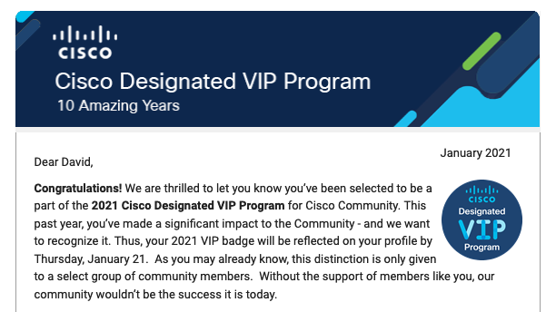 Cisco Designated VIP Email