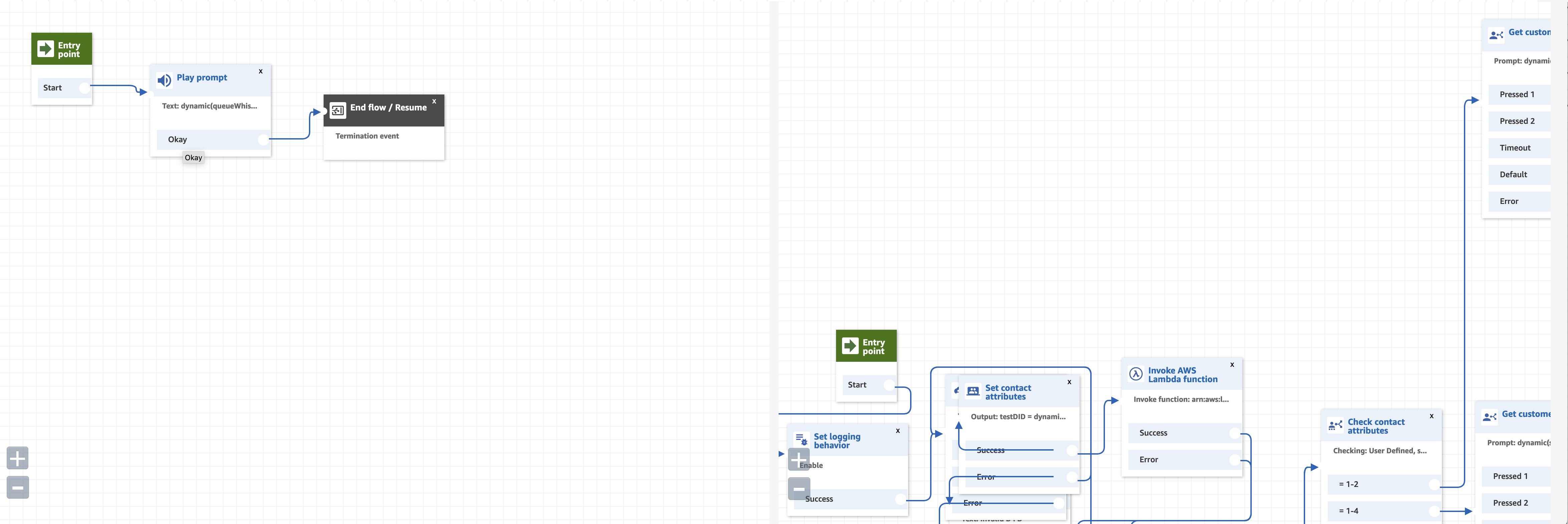 Default View of Two Different Flows